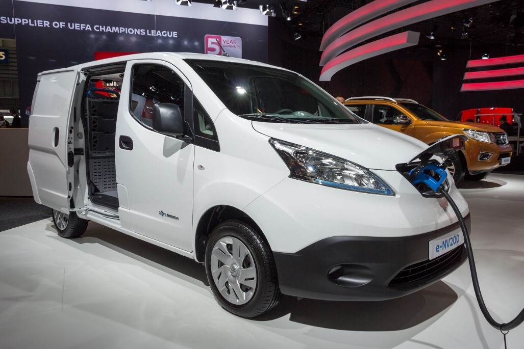 Electric Nissan e-NV200 van on display at the International Motor Show for Commercial Vehicles.